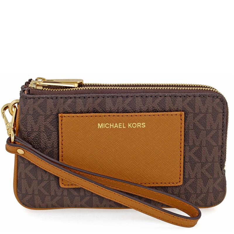 Michael Kors Medium Bedford Leather Wristlet - Brown / Acorn
