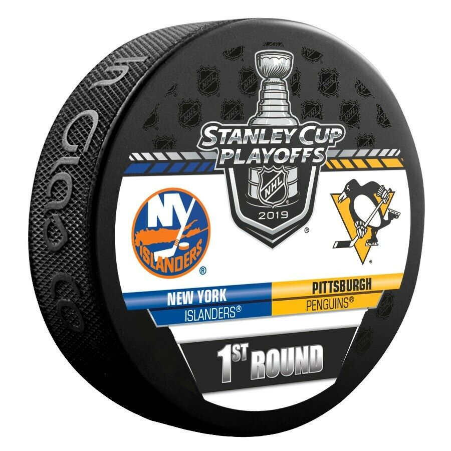 Details About 2019 Stanley Cup Playoffs Hockey Puck 1st Round Nhl New York Islanders Penguins
