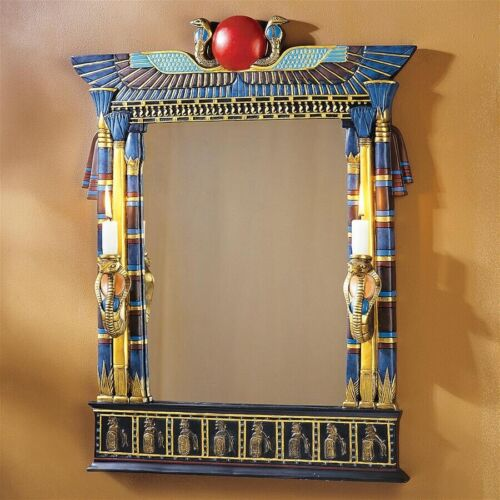 Egyptian Sculptural Wall Mirror with Cobra Sconces