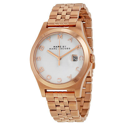 Marc by Marc Jacobs The Slim White Dial Rose Gold-tone Ladies Watch MBM3392