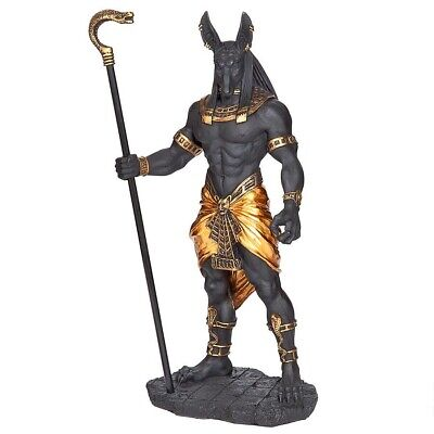 Egyptian Anubis Jackal God of the Underworld Holding Cobra Staff Statue - Anubis God Of The Underworld