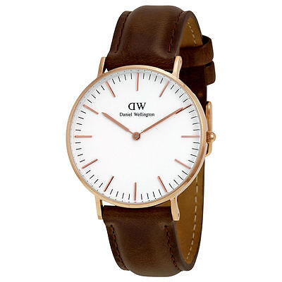 Daniel Wellington Classic Bristol White Dial Brown Leather Ladies Watch 0511DW