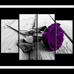 Plum Purple Rose Floral Canvas Black White Wall Art Picture Wide XL Flower Gift