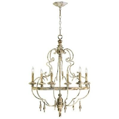 Wrought Iron Six Light Chandelier - Cyan Design Davinci Six Light Chandelier, Persian White - 04160