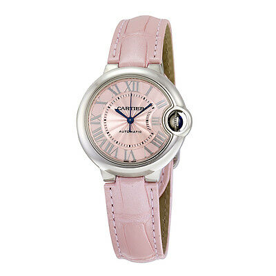 Cartier Ballon Bleu Automatic Pink Dial Alligator Leather Ladies Watch WSBB0002