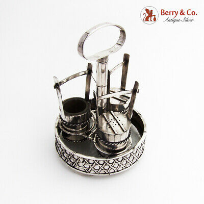 Japanese Silver Figural Salt Pepper Mustard Pot Set Stand 1930