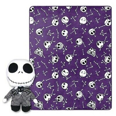 NEW The Nightmare Before Christmas Fleece Blanket & Plush Doll Pillow JACK GIFT