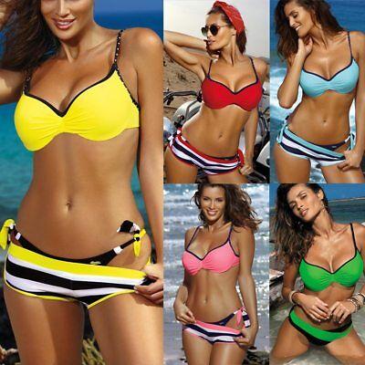Women Three Piece Push Up Bikini Set With Shorts Stripe Swimsuit Ruched Swimwear