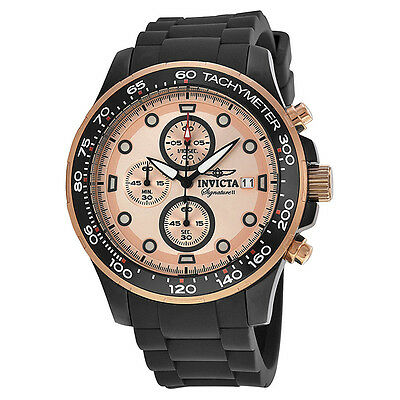 Invicta Signature II Rose Gold-subdue and Black Stainless Steel Mens Watch 7374