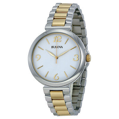 Bulova Women's 98L194 Quartz Two Tone Stainless Steel Bracelet 38mm Watch Bulova Bangle Steel Ladies Watch
