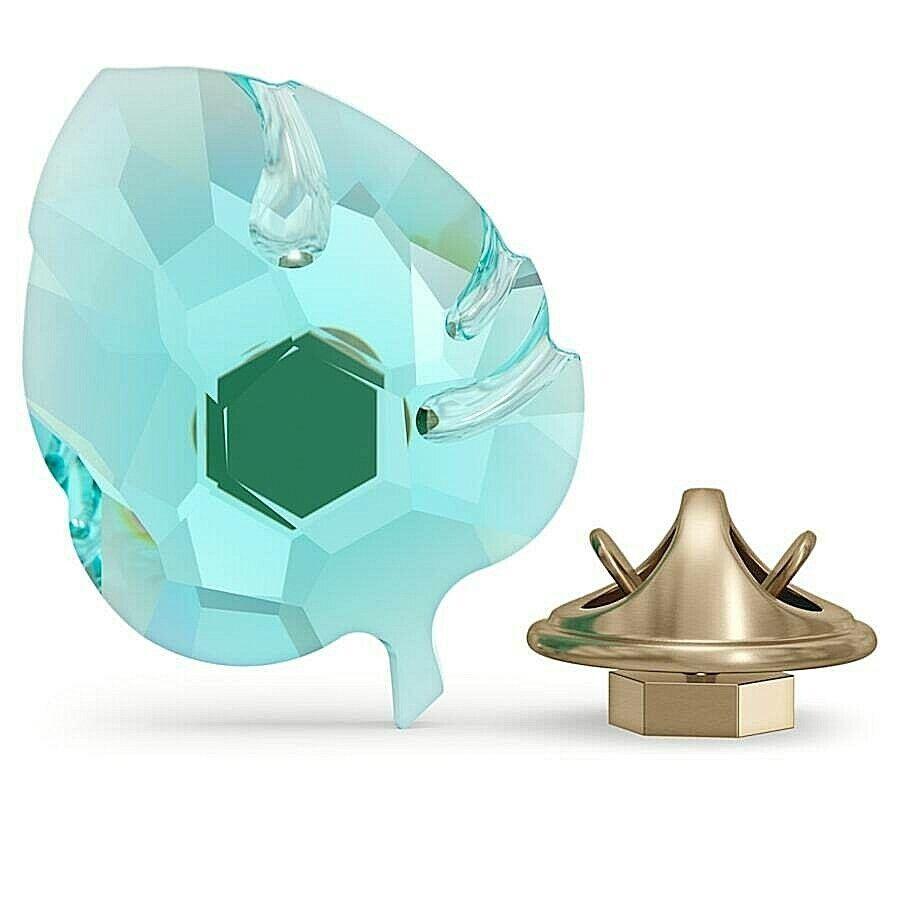 "Swarovski Crystal 2021 ""Jungle Beats"" Small Blue Leaf Magnetic Figurine, Box/COA"