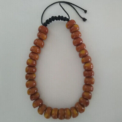 Tibetan Buddhist Resin Amber Necklace - Made in Nepal