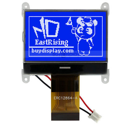 Blue 128x64graphic Lcd Module Display Spi Serialst7565p Wtutorialconnector