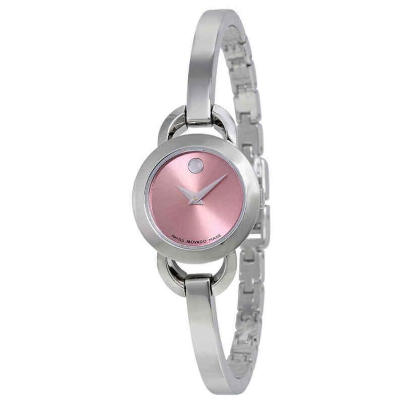 Movado Rondiro Pink Dial Stainless Steel Bangle Ladies Watch 0606797