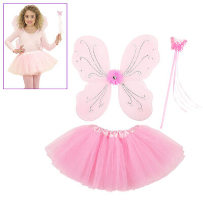 KINDER KOSTÜM FEE ROSA Karneval Fasching Dress-Up Set Elfe Zubehör Flügel (Rosa Fee Kostüm Kind)