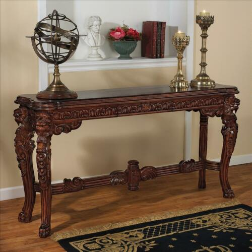 Medieval Antique Replica Solid Mahogany Majestic Lion Head Console Table
