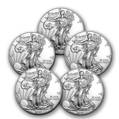 Best  2020 1 OZ AMERICAN SILVER EAGLE BU - LOT OF 5 COINS $1 US MINT SILVER