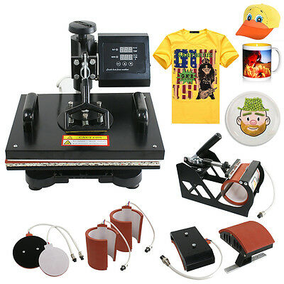 6 In 1 T-shirt Mugplate Sublimation Heat Press Transfer Machine Diy Printer