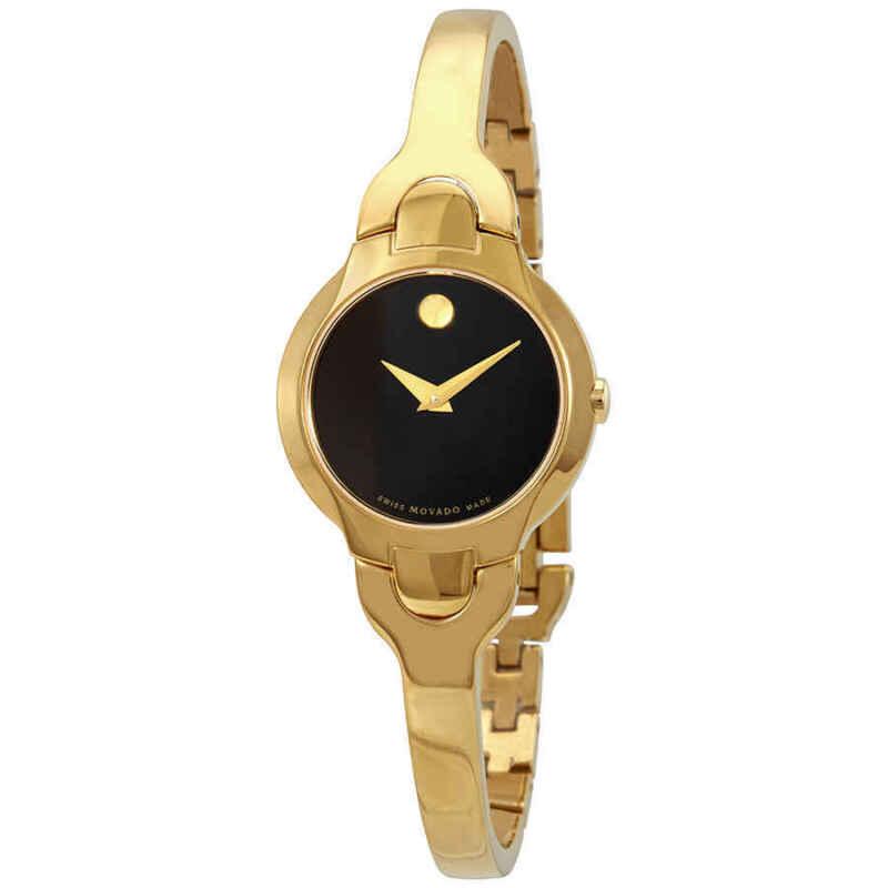 Movado Kara Black Dial Yellow Gold PVD Ladies Watch 0606936