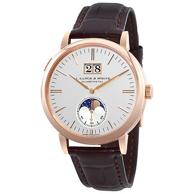 A Lange & Sohne Saxonia Moon Phase Automatic Silver Dial Mens Watch 384.032