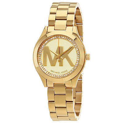 Michael Kors Mini Slim Runway Ladies Gold Tone Watch MK3477