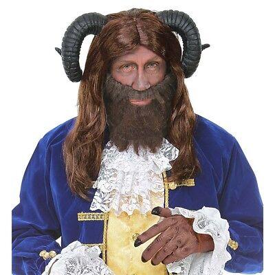 BRAUNE BIEST PERÜCKE Hörner Herren Bestie Märchen Karneval Kostüm Cosplay -