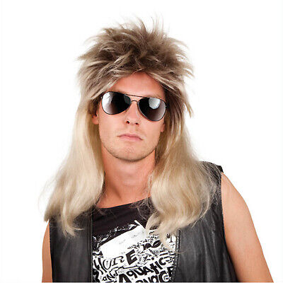 BLONDE PROLLO PERÜCKE 80er 90er Jahre Vokuhila Rocker Rockstar Kostüm Fest - Rockstars Kostüm