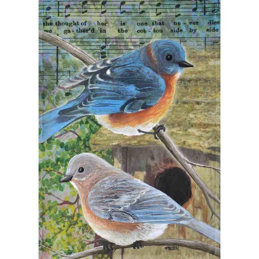 """MUSICAL BIRDS 12.5"""" X 18"""" GARDEN FLAG 11-2869-223 RAIN OR SH"""