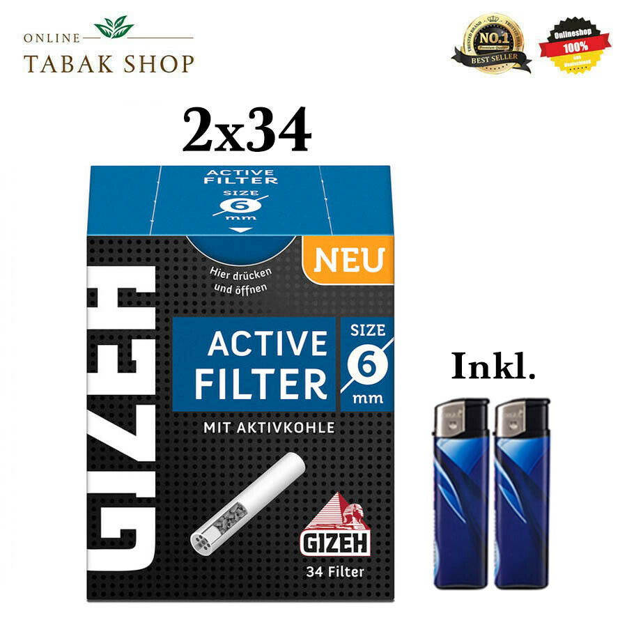 2x34 Gizeh Aktiv Active Filter 6mm Zigarettenfilter Aktivkohlefilter Joint Tips