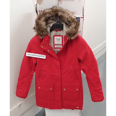 ABERCROMBIE & FITCH WOMENS HERITAGE WOOL PARKA COAT JACKET RED SIZE XS,M,XL