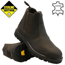 MENS STERLING LEATHER CHELSEA DEALER SAFETY BOOT STEEL TOE CAP ANKLE WORK SHOES