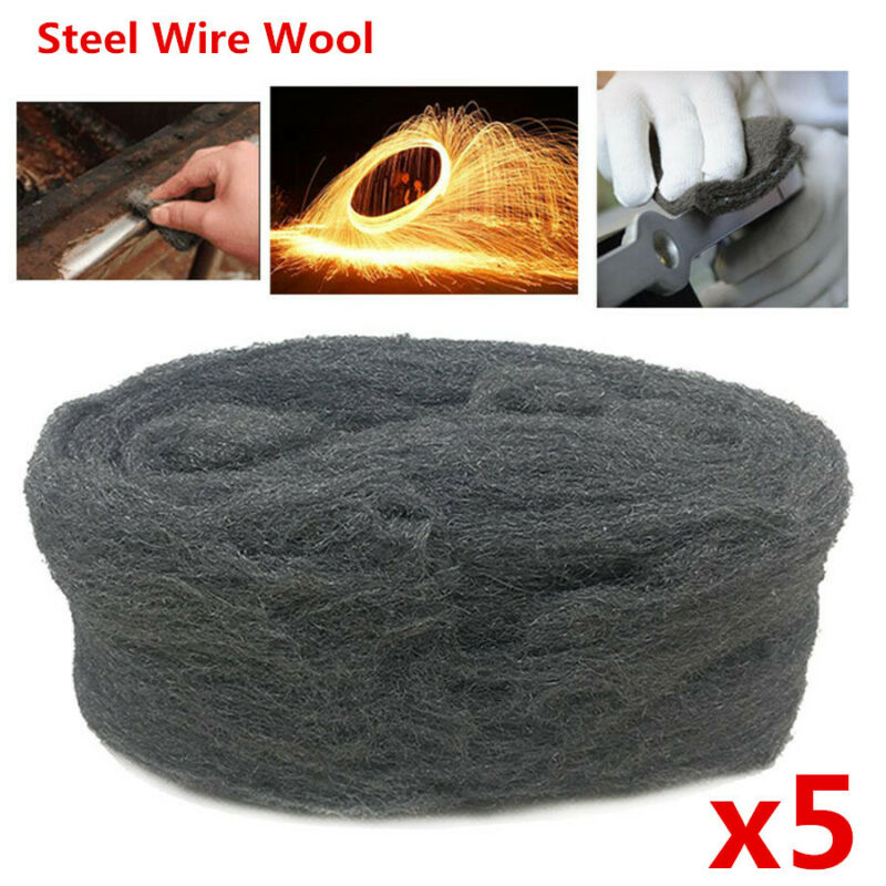 5Pcs Steel Wire Wool Grade 0000 3.3m For Polishing Cleaning Remover Non Crumble