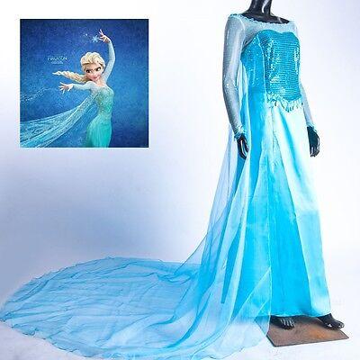 Adult Lady Snow Queen Frozen Princess Elsa Dress Costume Cosplay Party Dress-Up (Adult Princess Elsa Costume)