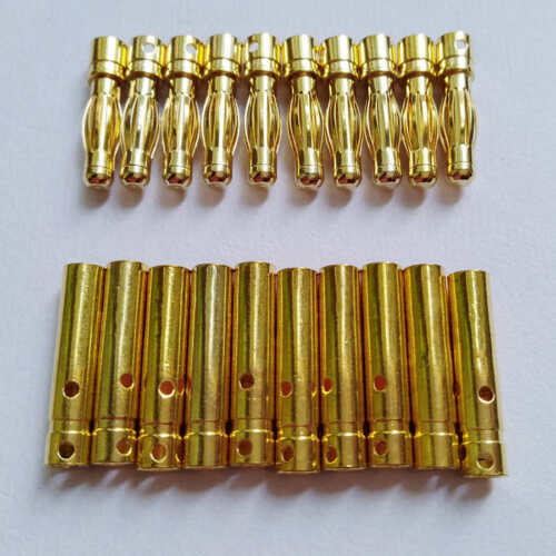 10 Pairs 4.0mm 4mm RC Battery Gold-plated Bullet Connector Banana Plug M720