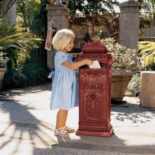 "Home Postal British-Style  Antique Replica Cast Iron Mailbox 38""  Garden Statue"