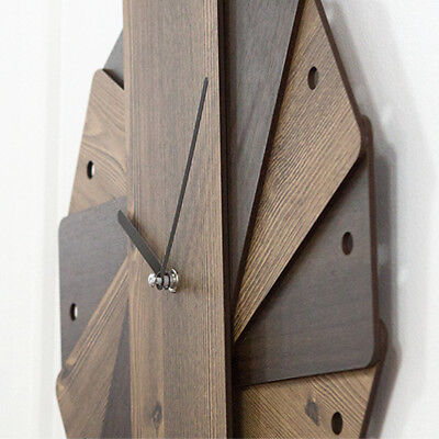 Wood Large Wall Clock Modern Design Unique Watch Wall Clocks Home Decor Silent ()