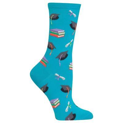 Happy Graduation Hot Sox Trouser Crew Sock Turquoise New Women Size 9-11 Fashion - Graduation Socks