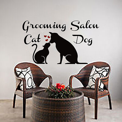 Pet Shop Window (Dog Wall Decals Cat Art Grooming Salon Decal Vinyl Sticker Pet Shop Window)