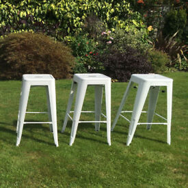 Reproduction Tolix Style Metal Bar Stool - 3x white lacquered