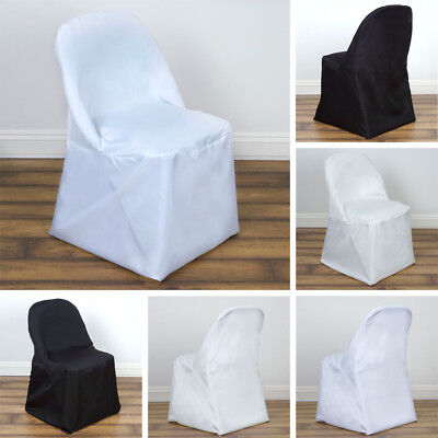 10 POLYESTER ROUND FOLDING CHAIR COVERS Wedding Party Dinner Decorations on - Sale Decorations