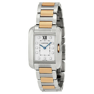 Cartier Tank Anglaise Small Silver Dial Stainless Steel 18kt Rose Gold Ladies