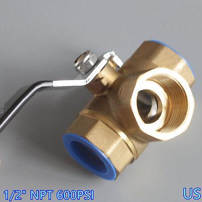 12 3 Way Brass Ball Valve L Port Three Way Npt 600psi Oil Gas No Leak Us
