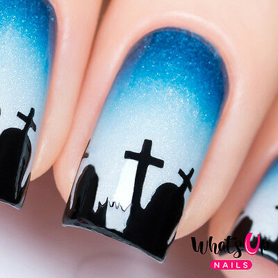 Graveyard Stencils for Nails, Halloween Nail Stickers, Nail Art, Nail Vinyls - Graveyard Halloween