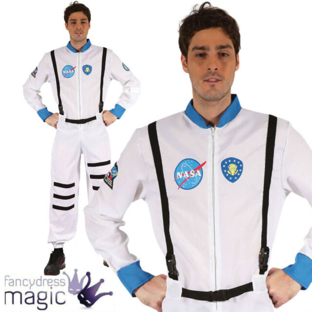 Adult Mens White Spaceman NASA Space Astronaut Sci Fi Fancy Dress Costume Outfit