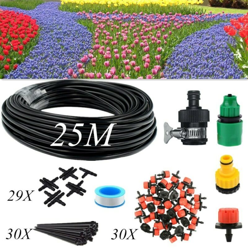 82FT Micro Drip Irrigation System Sprinkler Plant Watering Hose Garden Tool Kit