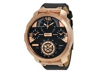 DIESEL MACHINUS DZ 7380 BRAND NEW MENS WATCH GENUINE BLACK LEATHER WITH TAGS RRP £349