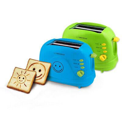 Toaster 2 Scheiben Bild Muster Sandwich Krümelschublade blau grün Wärmeiso neu