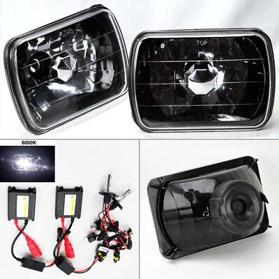 """7X6"""" 6K HID Xenon H4 Black Chrome Glass Headlight Conversion Pair RH LH Chevy"""