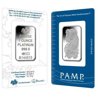 Lot of 2 - 1 oz PAMP Suisse Lady Fortuna Platinum Bar .9995 Fine (In Assay)