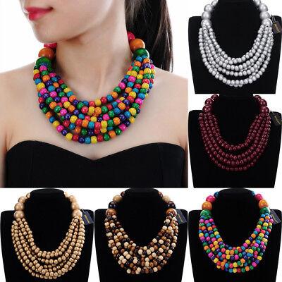 Fashion Bohemian Jewelry Chain Wood Beads Collar Choker Pendant Bib Necklace